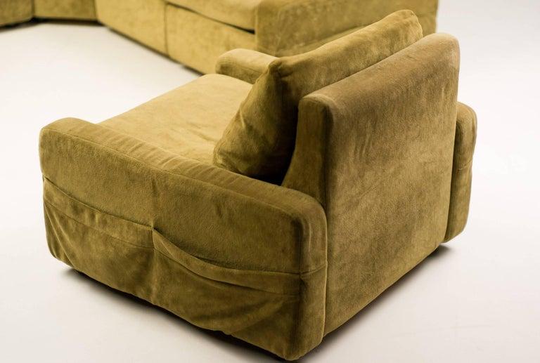 Mid Century Modern Walter Knoll Modular Sofa In Green Velvet For