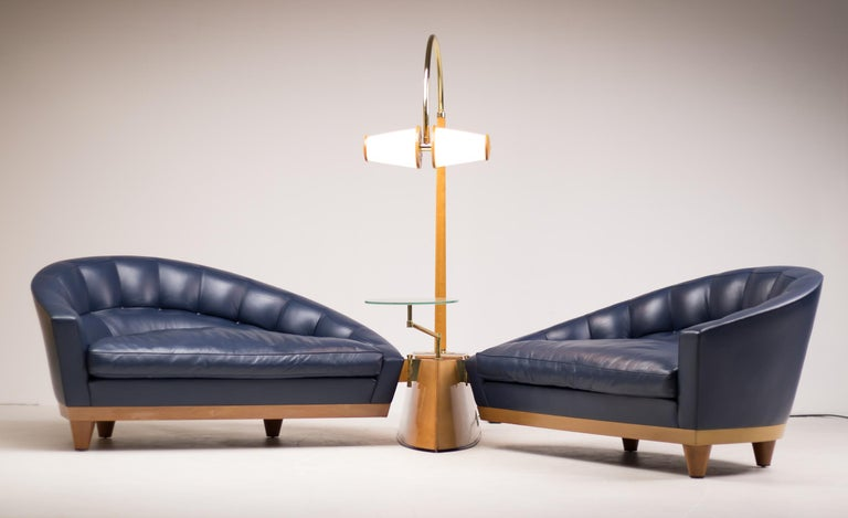 Italian Blue Leather Aladino Sofa by Massimo Scolari for Giorgetti For Sale