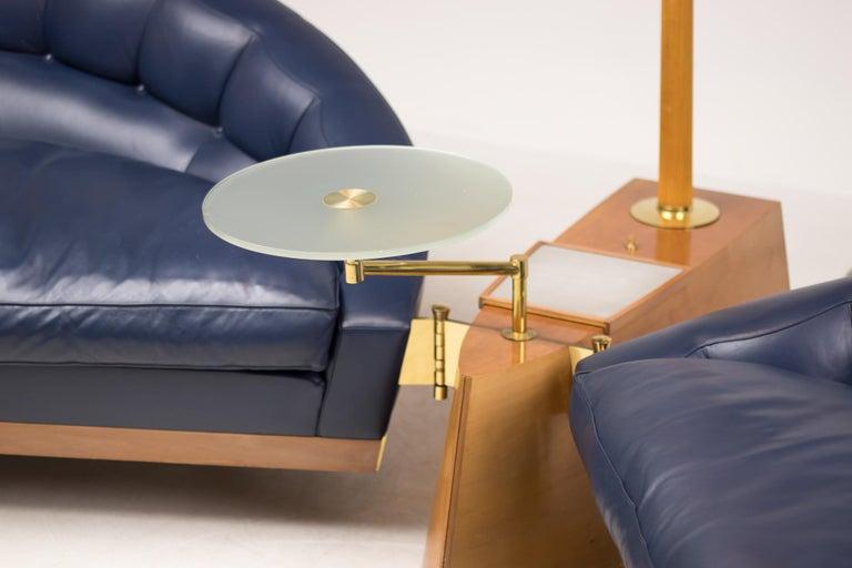 Modern Blue Leather Aladino Sofa by Massimo Scolari for Giorgetti For Sale