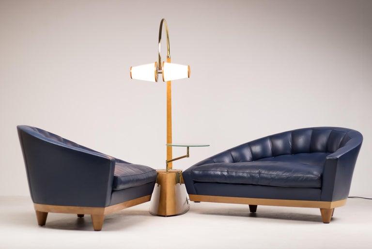 Blue Leather Aladino Sofa by Massimo Scolari for Giorgetti In Good Condition For Sale In Dronten, NL