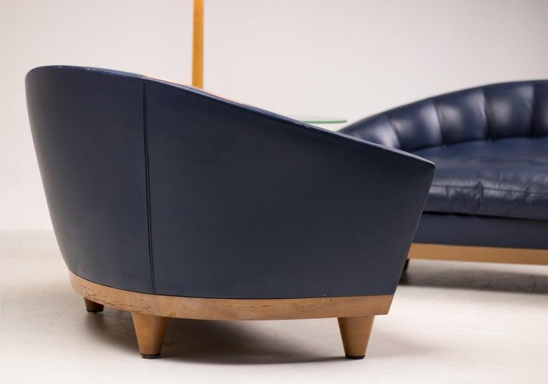 Late 20th Century Blue Leather Aladino Sofa by Massimo Scolari for Giorgetti For Sale