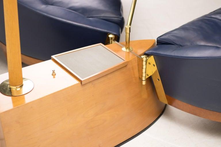 Brass Blue Leather Aladino Sofa by Massimo Scolari for Giorgetti For Sale