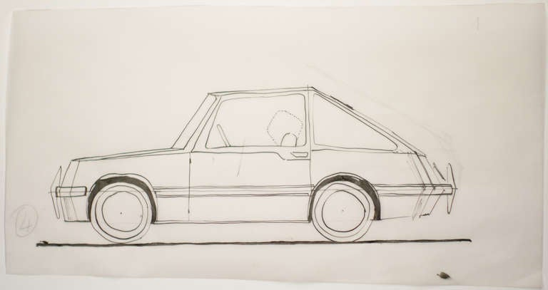 Important drawing by Gio Ponti of the Diamante line for Touring Carrozzeria Milan. A similar example pictured on page 167 of Gio Ponti: The Complete Work by Lisa Ponti. Ponti's car designs where never realized, but his design ideas where very