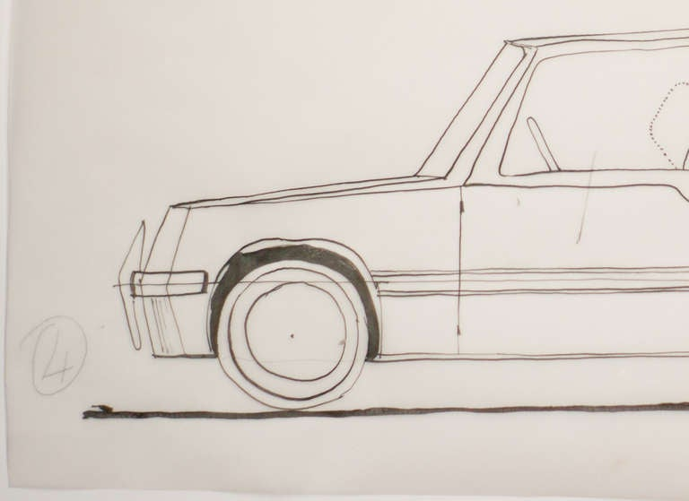 Mid-Century Modern Original Drawing by Gio Ponti for Touring Carrozzeria Milan, 1952 For Sale
