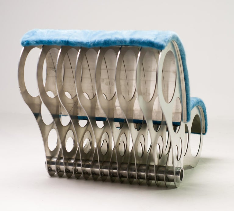 Contemporary Spectacular One-Off Aluminium Chair in Baby Blue Mink For Sale