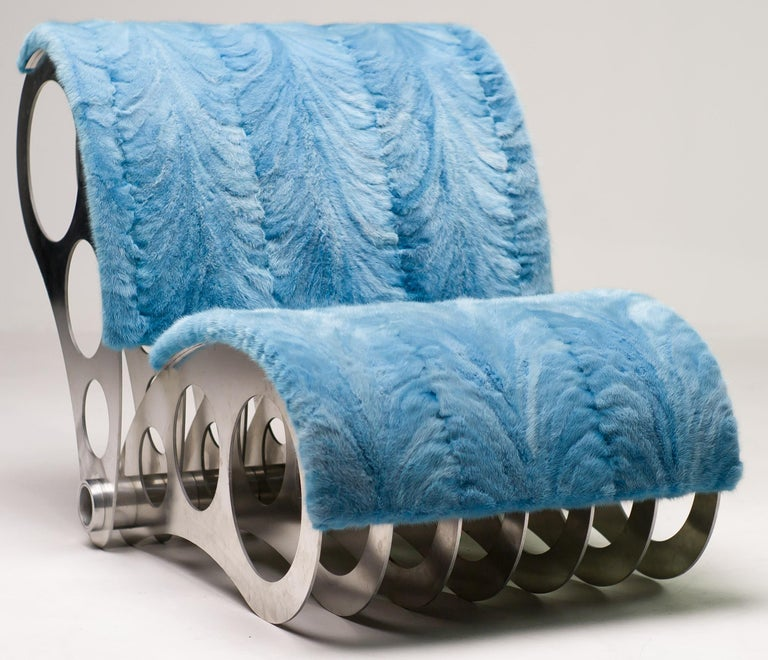 Spectacular One-Off Aluminium Chair in Baby Blue Mink For Sale 1
