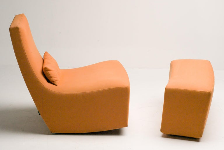 Modern Rocking Lounge Chair and Ottoman by Ligne Roset For Sale