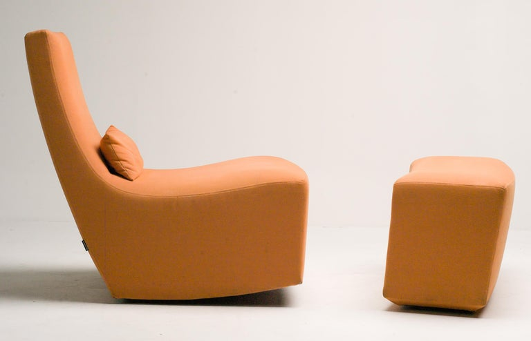 French Rocking Lounge Chair and Ottoman by Ligne Roset For Sale