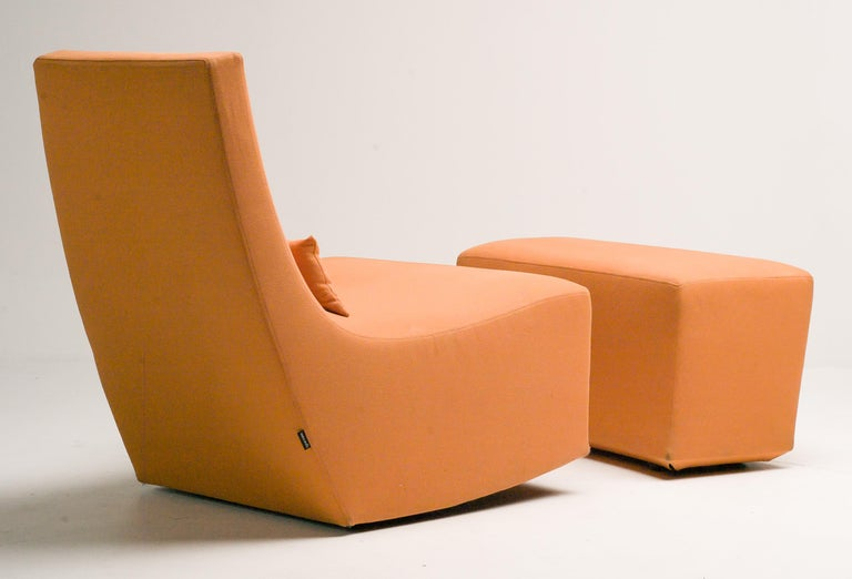 Late 20th Century Rocking Lounge Chair and Ottoman by Ligne Roset For Sale