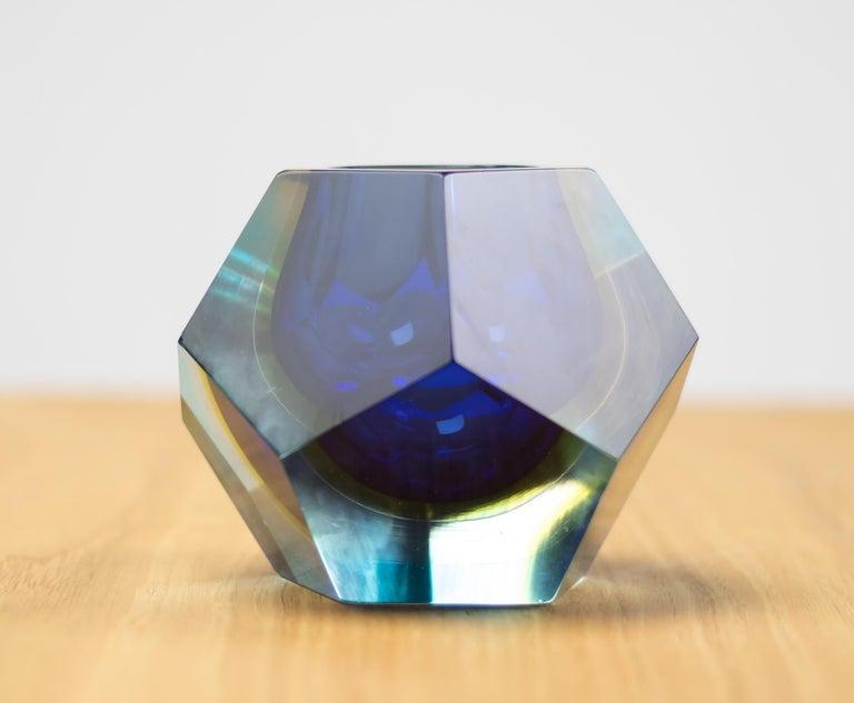 Beautiful 1970s Italian molded glass vase with geometric cut edges.  Free worldwide shipping.