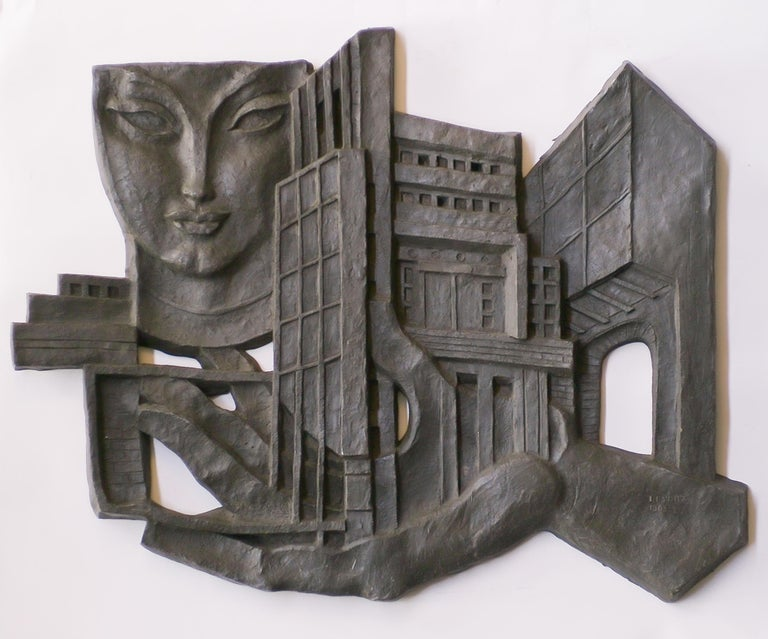Steel Architectural Wall Sculpture by Leon Leyritz For Sale