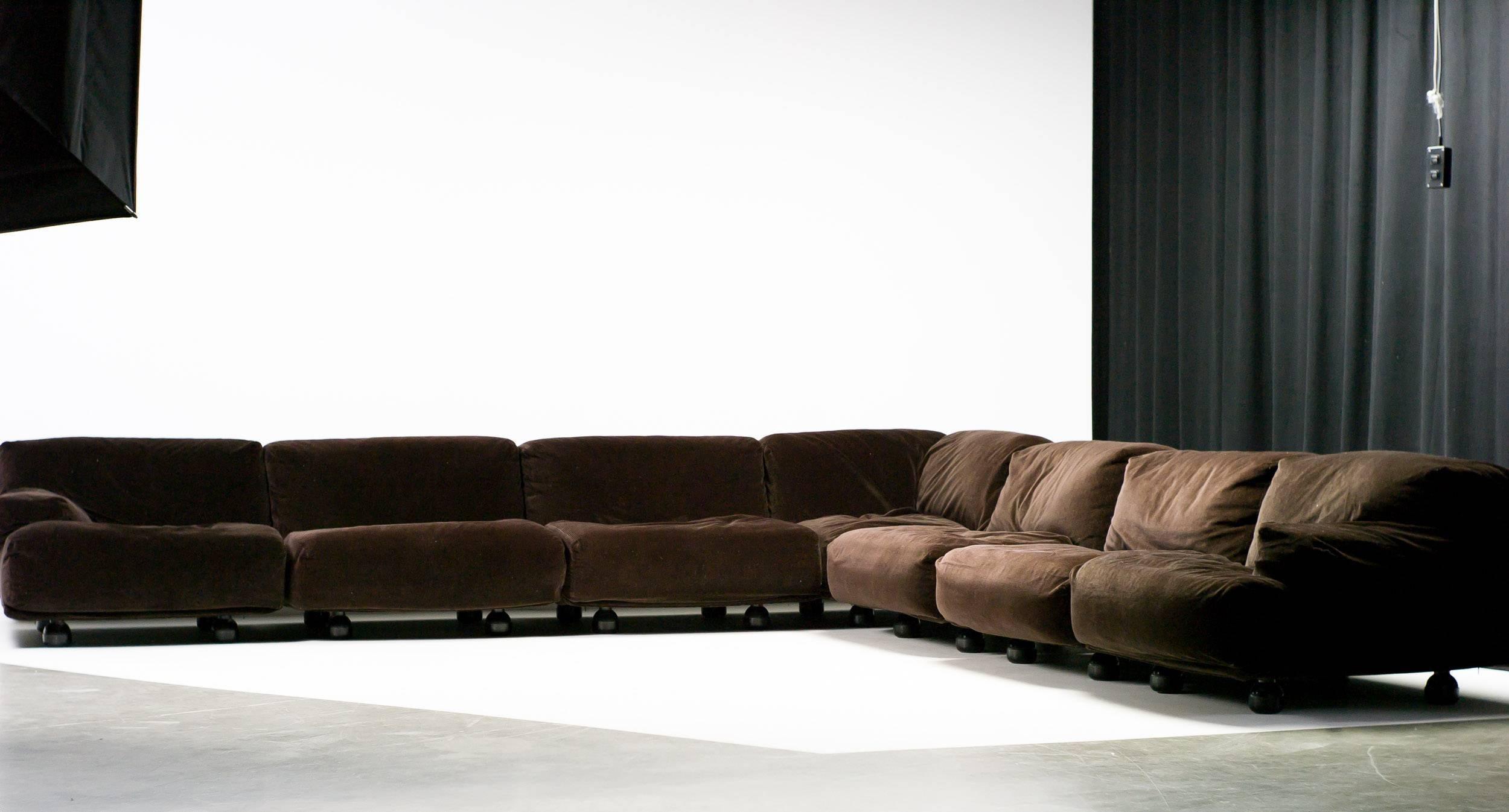 Velvet Very Large Fiandra Modular Sofa By Vico Magistretti For Cassina For  Sale