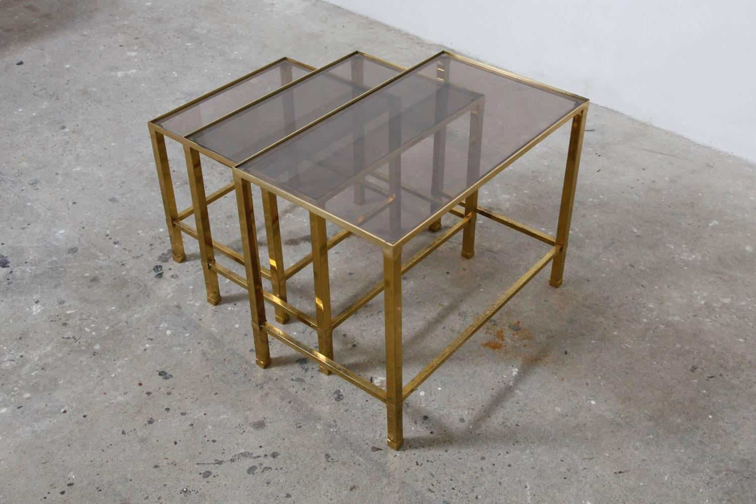 French brass nesting sofa tables at 1stdibs for French furniture designers 20th century