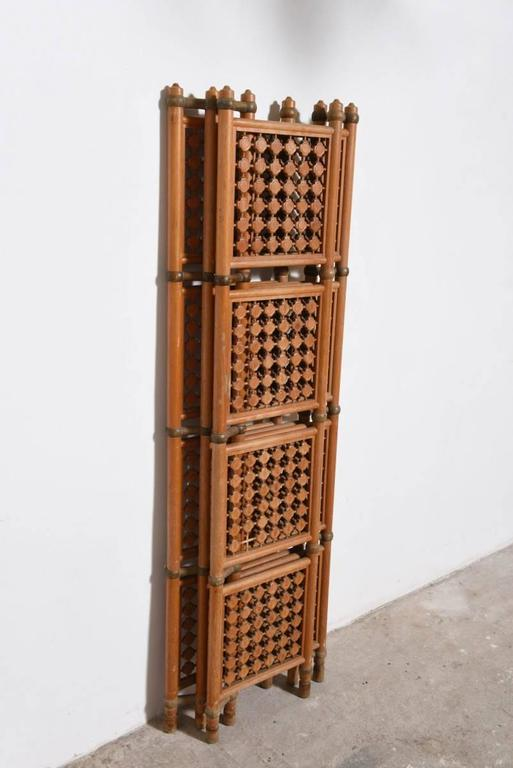 Four-Panel Danish Solid Walnut Room Divider For Sale 2