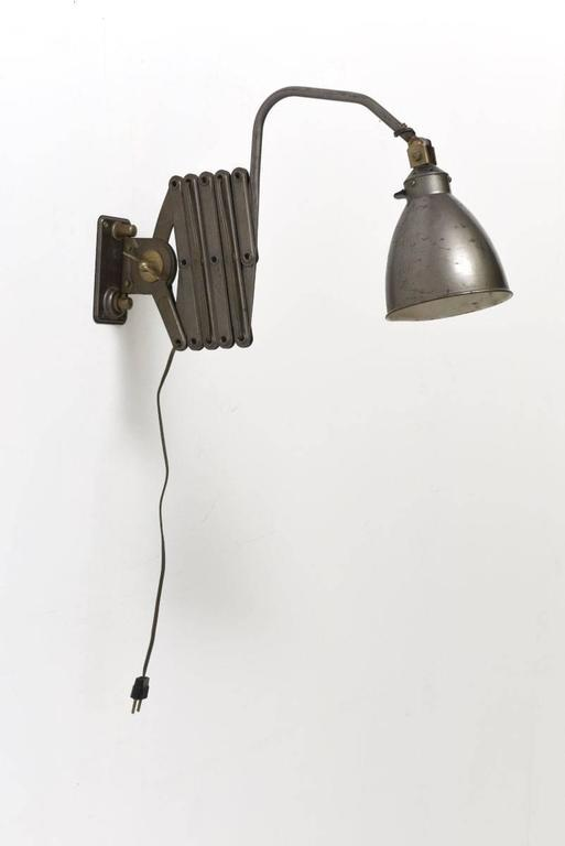 Wall Mounted Scissor Lamp : Industrial French Scissor Wall Lamp For Sale at 1stdibs