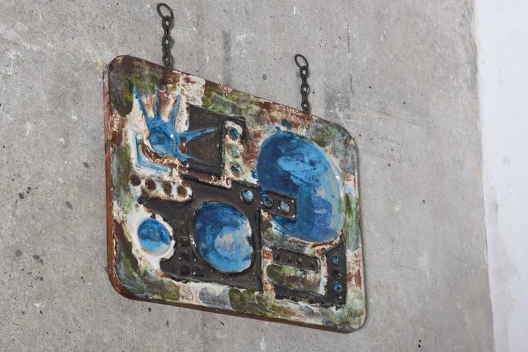 Mid Century Modernist Ceramic Hanging Tile Wall Art From