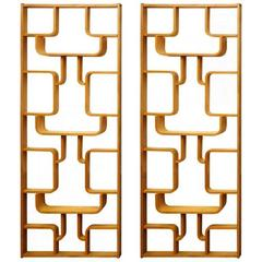 Set of Two Midcentury Plywood Room Dividers, Wall Sculptures