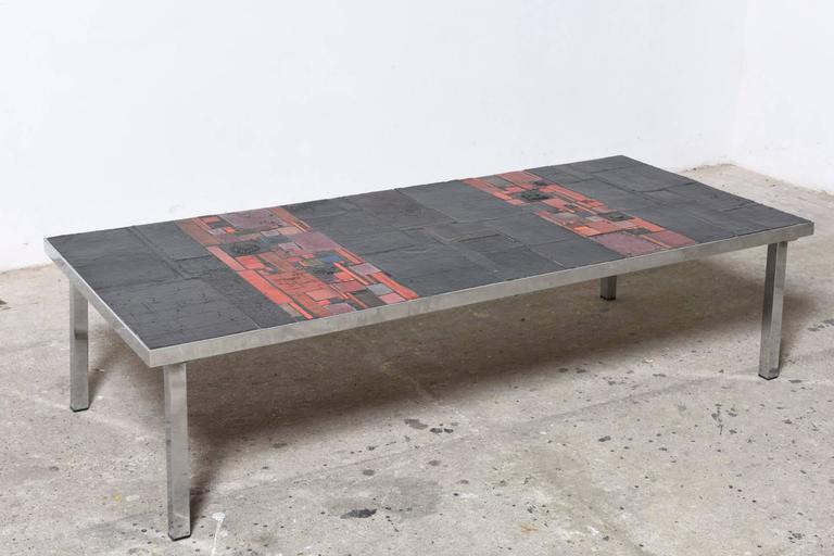 Beautiful Mosaic Top Table Made Of Unique Handcrafted Tiles With A Chromium Red Pink