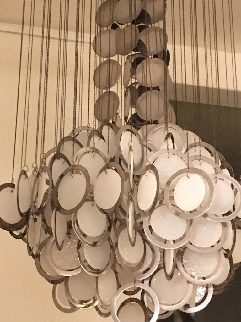 Mid-20th Century Large Rare Vistosi Opal Glass and Chrome Discs Chandelier, Murano, Italy, 1960s For Sale