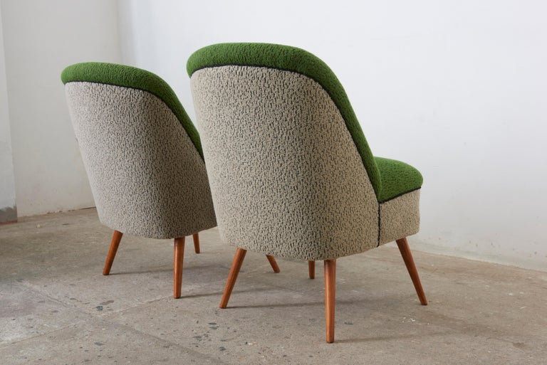 Hand-Crafted Sitting Group of Green and Gray 1950s Coctail Lounge Chairs,Switzerland For Sale