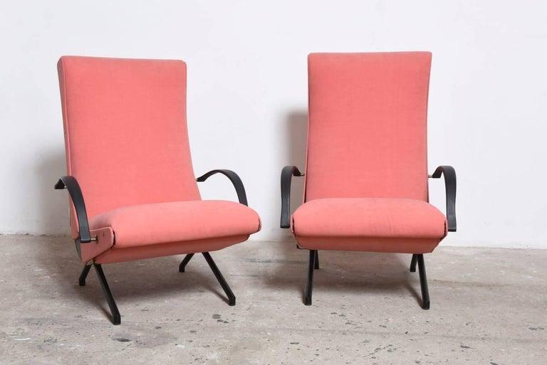 Italian Pink fabric Osvaldo Borsani, P40 Lounge Chair for Tecno, Italy For Sale