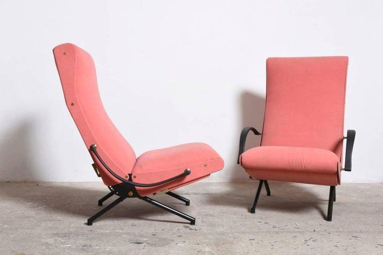 Enameled Pink fabric Osvaldo Borsani, P40 Lounge Chair for Tecno, Italy For Sale