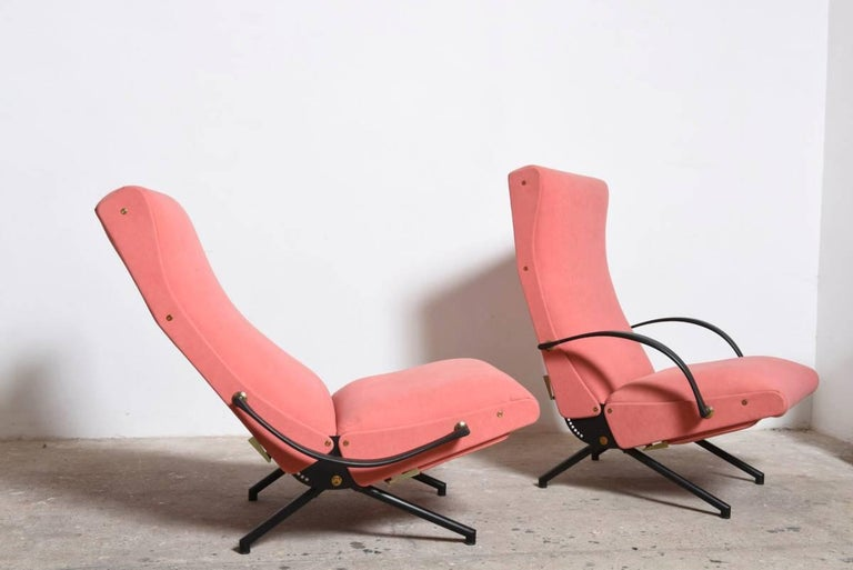 Mid-20th Century Pink fabric Osvaldo Borsani, P40 Lounge Chair for Tecno, Italy For Sale