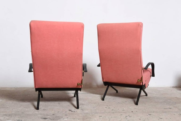 Metal Pink fabric Osvaldo Borsani, P40 Lounge Chair for Tecno, Italy For Sale