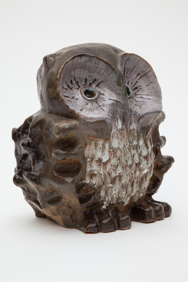 Mid-Century Modern Large Ceramic Glazed Owl Sculpture by Perignem, 1970s Belgium For Sale