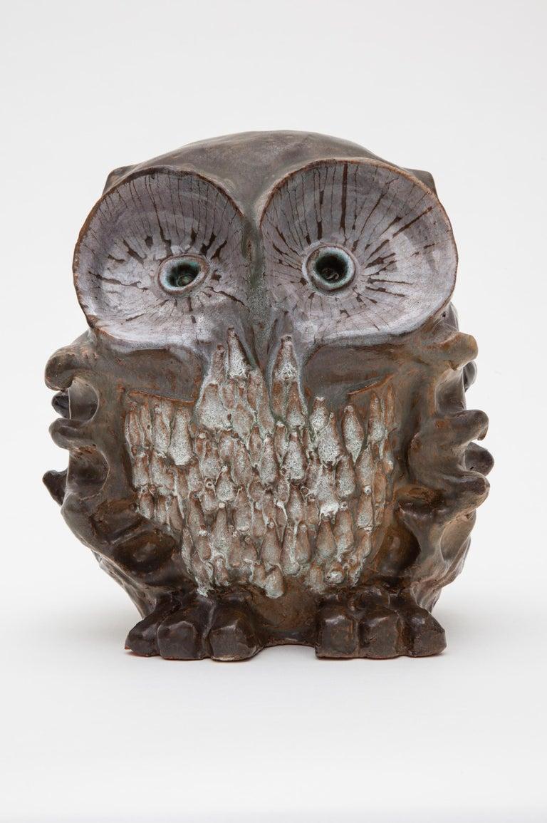Belgian Large Ceramic Glazed Owl Sculpture by Perignem, 1970s Belgium For Sale