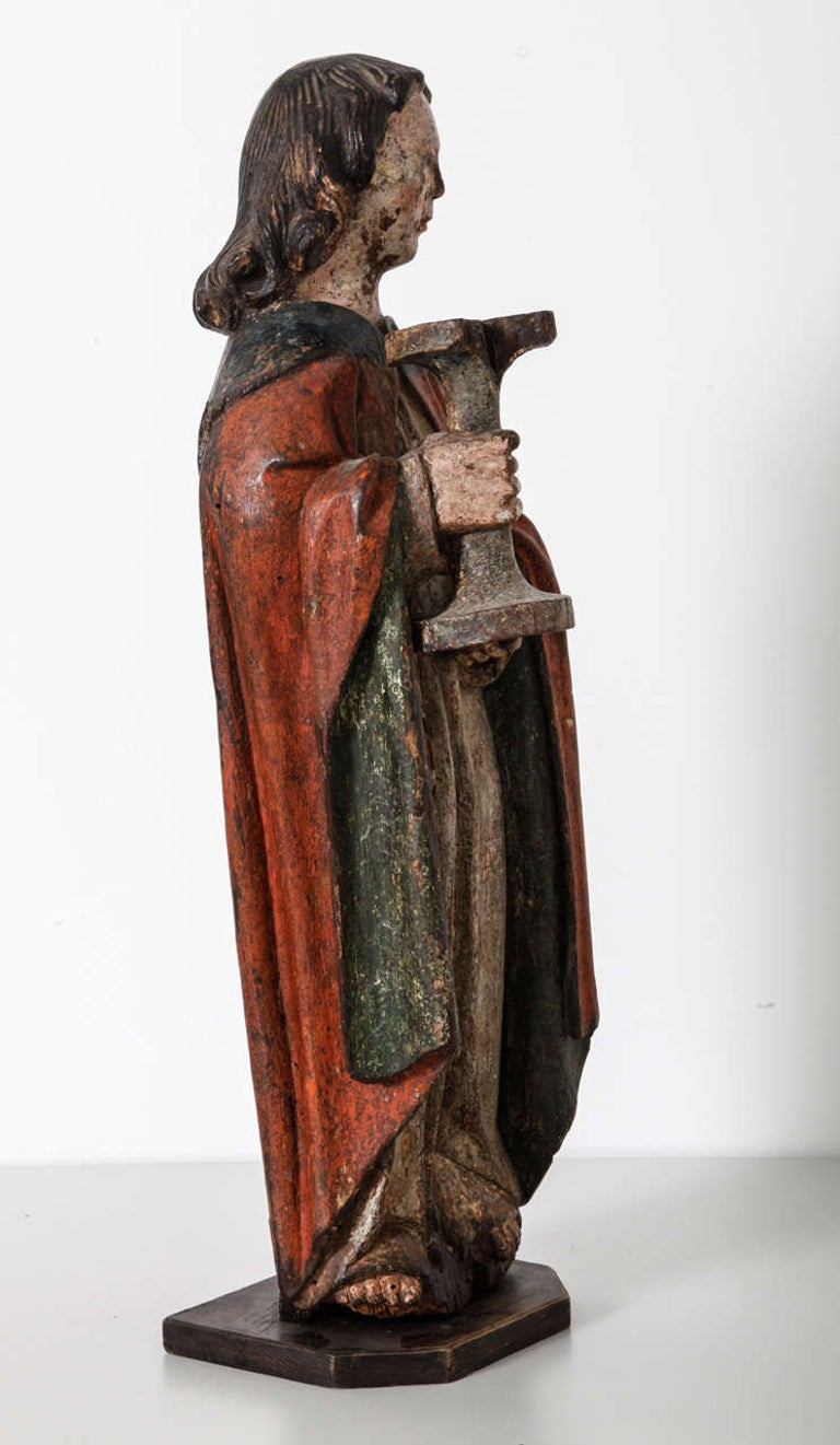 Gothic Works of Art Polychrome Guardian Angel with Candelabrum, Netherlands For Sale