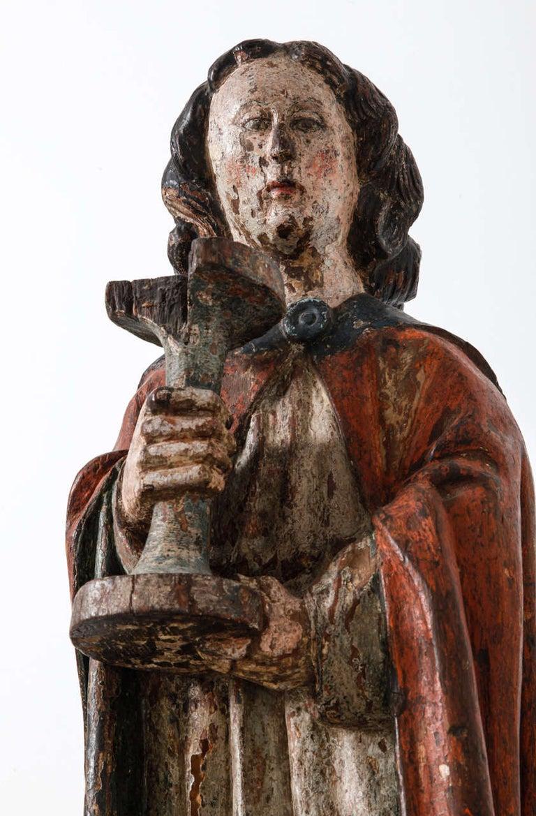 Dutch Works of Art Polychrome Guardian Angel with Candelabrum, Netherlands For Sale