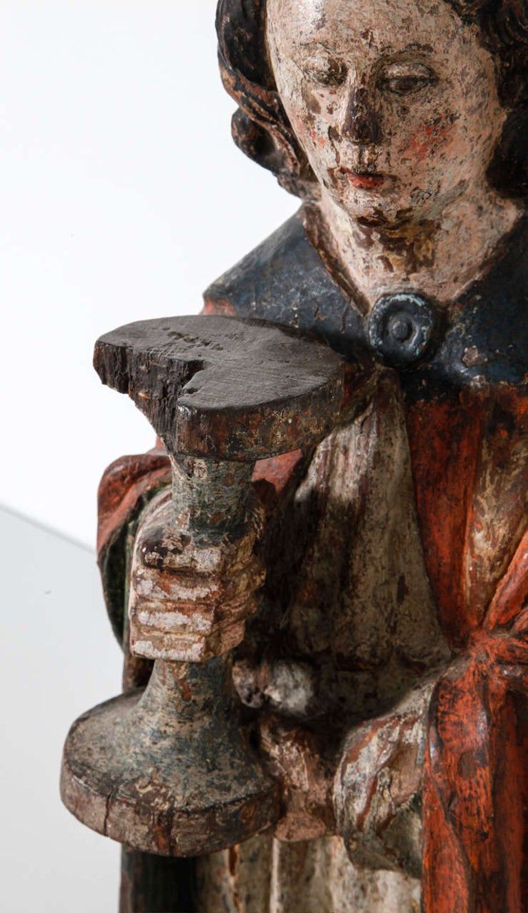 Hand-Carved Works of Art Polychrome Guardian Angel with Candelabrum, Netherlands For Sale