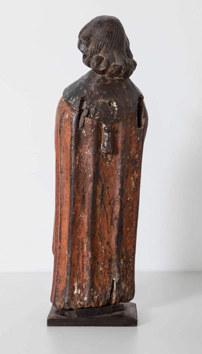 Works of Art Polychrome Guardian Angel with Candelabrum, Netherlands In Good Condition For Sale In Antwerp, BE