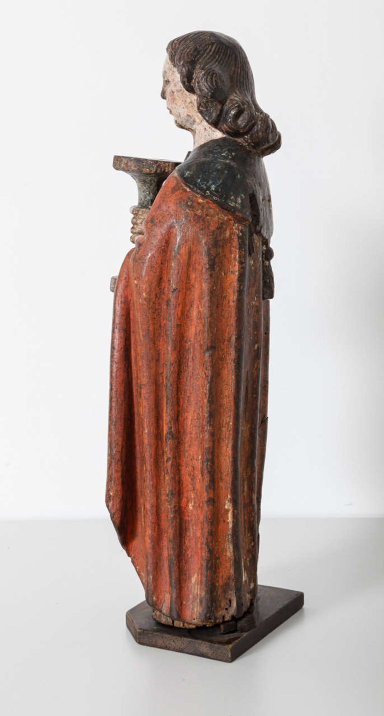 18th Century and Earlier Works of Art Polychrome Guardian Angel with Candelabrum, Netherlands For Sale