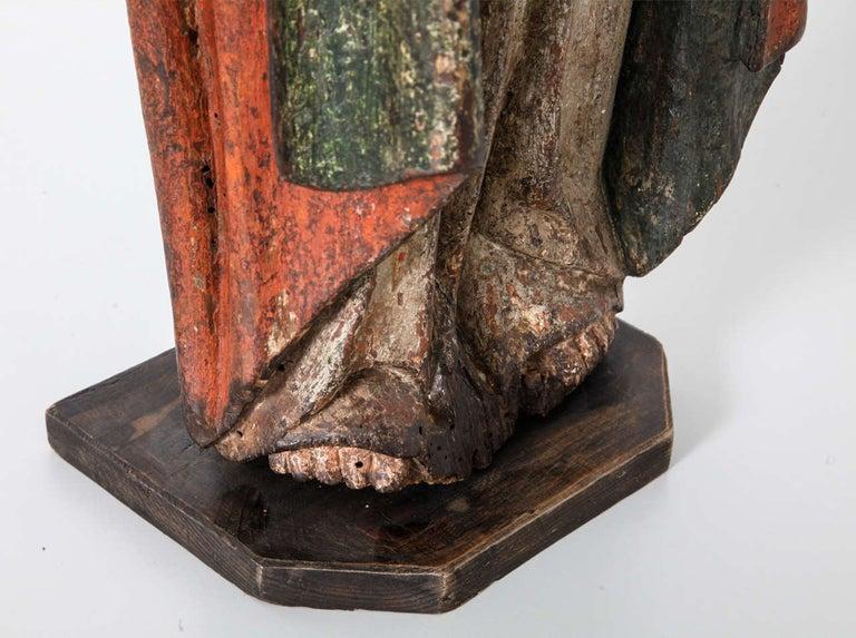 Oak Works of Art Polychrome Guardian Angel with Candelabrum, Netherlands For Sale
