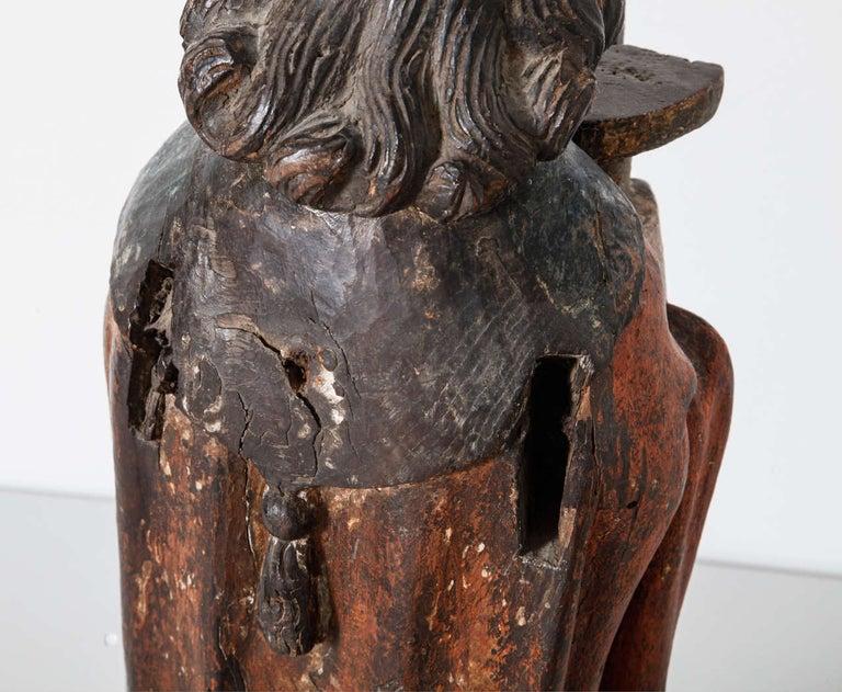 Works of Art Polychrome Guardian Angel with Candelabrum, Netherlands For Sale 1