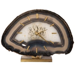 Junghaus Agate Stone Desk Table Clock, Germany