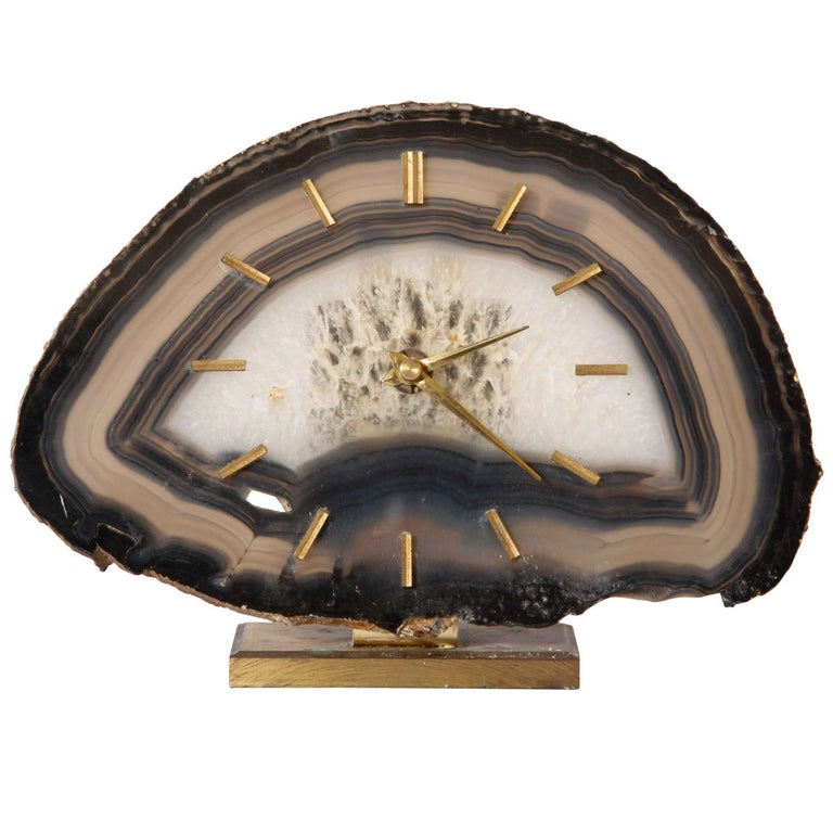 Junghaus Agate Stone Desk Table Clock, Germany For Sale