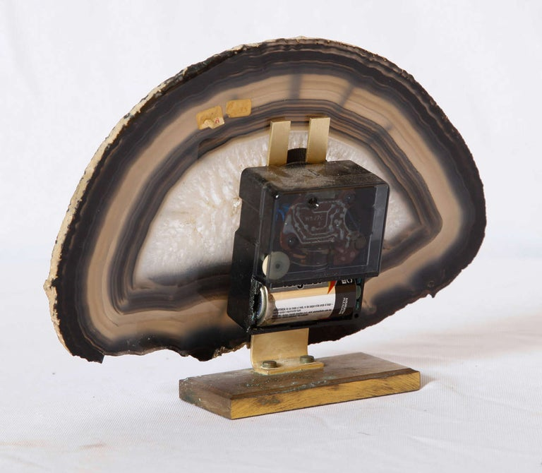 Mid-20th Century Junghaus Agate Stone Desk Table Clock, Germany For Sale