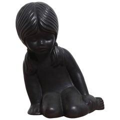 Keramik Skulptur eines Jungen Mädchens von Elie van Damme für Amphora