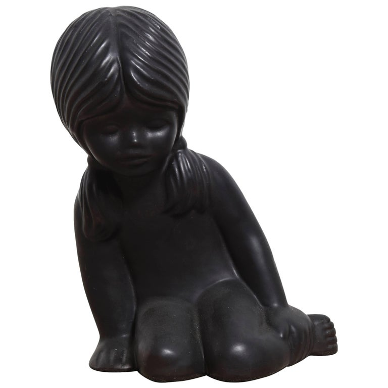 Ceramic Sculpture of a Young Girl by Elie van Damme for Amphora For Sale