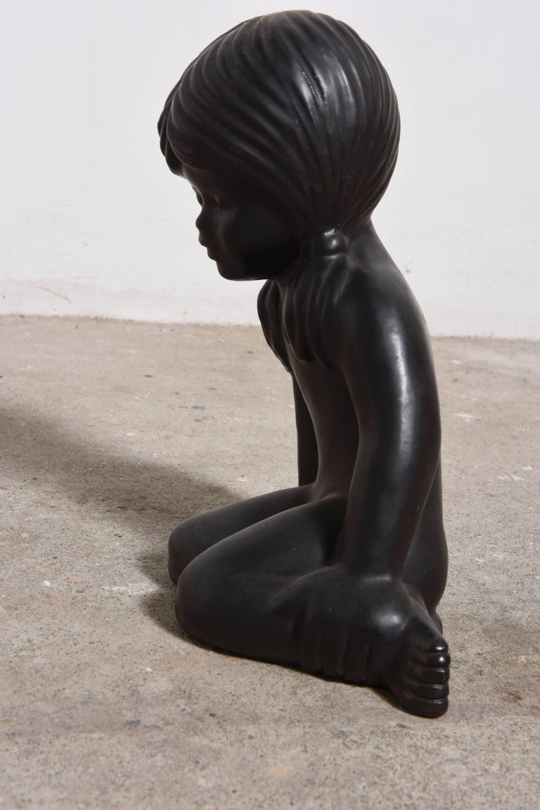 Belgian Ceramic Sculpture of a Young Girl by Elie van Damme for Amphora For Sale