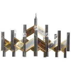 Zig Zag Gaetano Sciolari Modernist Brass,Chrome Chandelier, 1960s