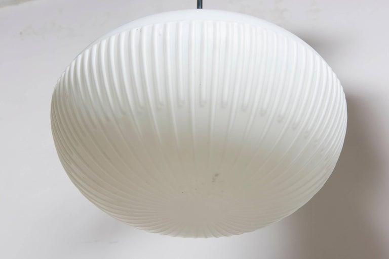 Scandinavian Modern Fog and Mørup White Opal Glass Pendant, Denmark For Sale
