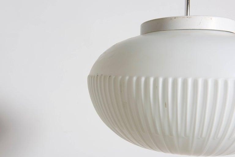Danish Fog and Mørup White Opal Glass Pendant, Denmark For Sale