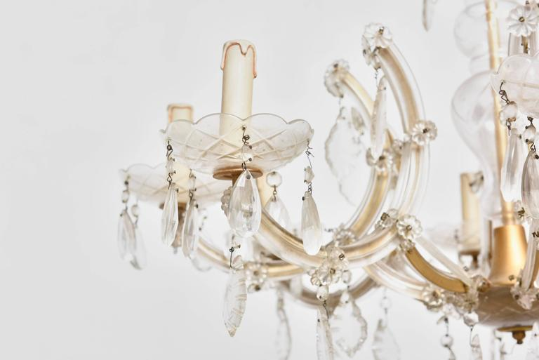 Italian Hollywood Regency Eight Light Crystal Chandelier For Sale
