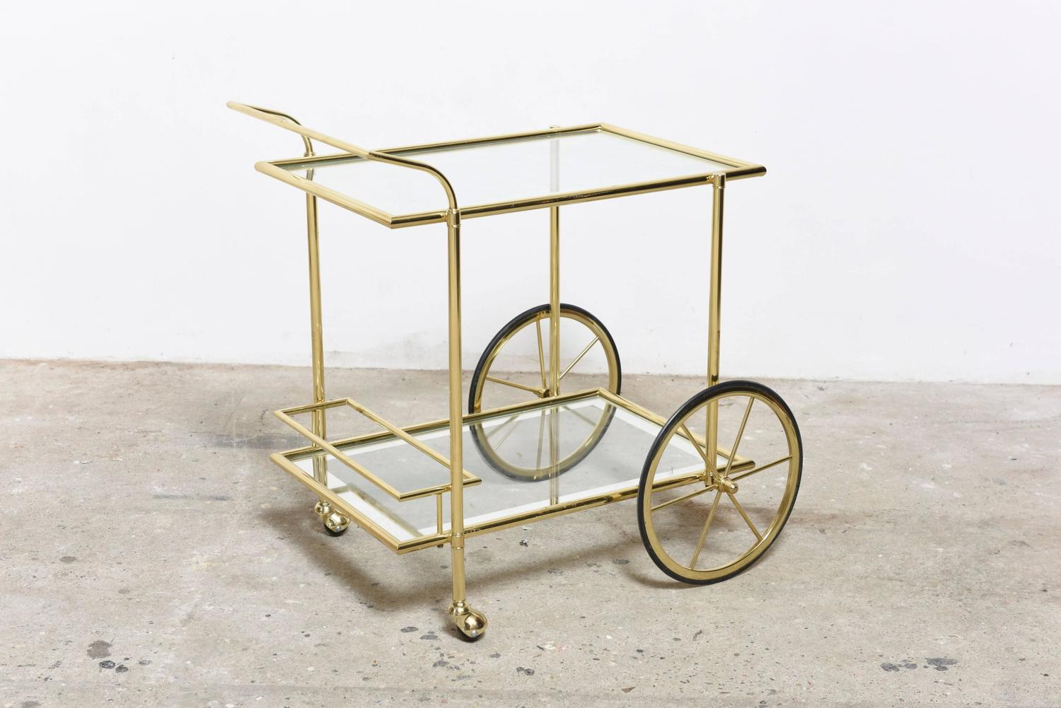 A French Fine Quality Polished Brass Bar Cart Trolley At