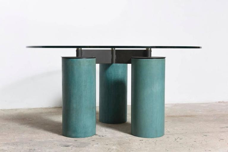 Italian crystal top table designed by David Law, Lella and Massimo Vignelli, for Acerbis International, circa 1985. System of table with glass crystal top supported by columns with a significant diameter in different Fine materials:Fresco finish