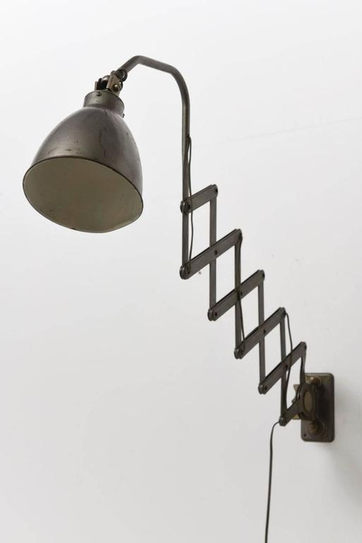 industrial french scissor wall lamp for sale at 1stdibs. Black Bedroom Furniture Sets. Home Design Ideas